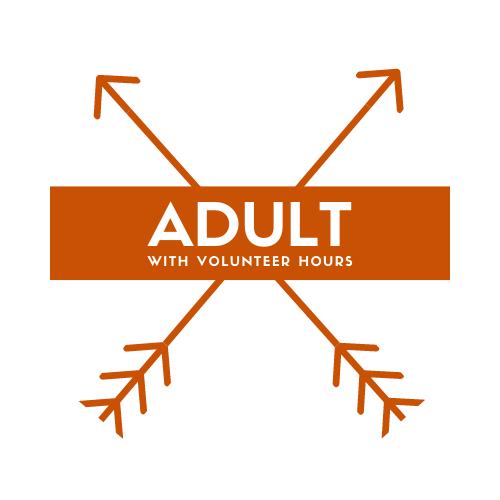 Adult with volunteer hours